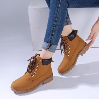 LALANG Busana Wanita Pergelangan Kesemek Martin Boots Sepatu Tempur Militer Kuning-Internasional