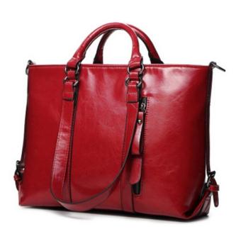 Hanyu Wanita Fashion Vintage Tas Wanita Kulit Wanita Besar Casing Bahu Tas Merah