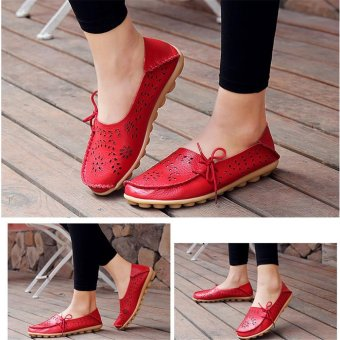 LALANG Women Loafers Ladies Slip on Shoes Flats Shoes (Red) - intl