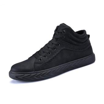 Kulit Pria Sepatu Skateboard Asli Baru Kedatangan Skateboard Sepatu Pria Sneakers Tinggi Top Sneakers-Intl