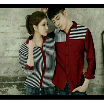 legiONshop - Kemeja Pasangan baju pasangan kemeja couple Couple Shirt atasan murah baju couple GARISCA maroon