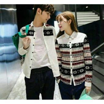 legiONshop - Kemeja Pasangan kemeja couple baju couple atasan baju pasangan SMALL FLOW white