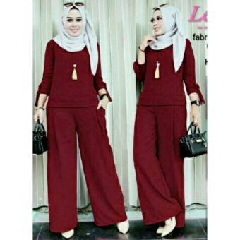legiONshop-pakaian wanita baju cewek stelan wanita blouse wanita (blouse+ celana)-