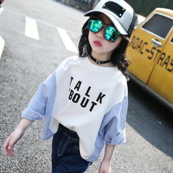 Longgar Korea Modis Gaya Musim Semi atau Musim Gugur Anak Perempuan Lengan Panjang Kemeja Kaos Sweater