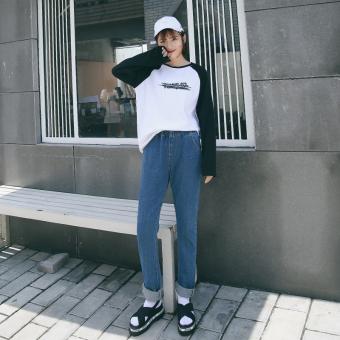 Longgar Korea Modis Gaya Wanita Biru Celana Panjang Baru Lurus Jeans (Biru Tua)