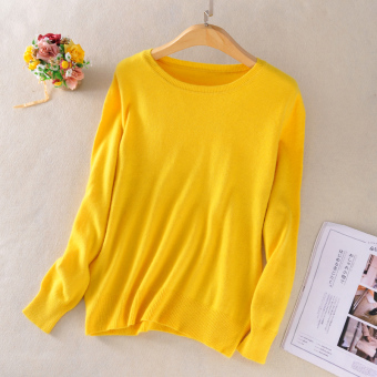 Sweater On Baru Leher Bulat Sweater Kasmir Korea Modis Gaya Perempuan (Kuning)