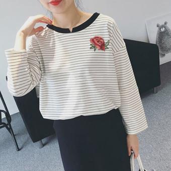 Kaos Korea Modis Gaya Musim Semi atau Musim Gugur Baju Dalaman Wanita Ukuran Besar (5017