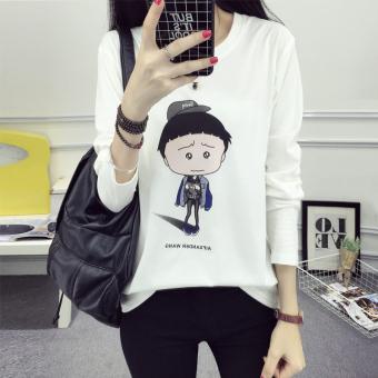 Xianyuansu Kaos Wanita Lengan Panjang Model Longgar Motif Cetak Kartun 3 Warna (172 (putih