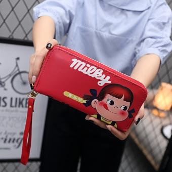 Lucu pria dan wanita animasi anak-anak dompet kartun dompet (Bagian panjang -merah