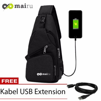 Mairu Tas Shoulder Sling Bag Cross Body With USB Charger Support For Iphone Ipad Mini Samsung
