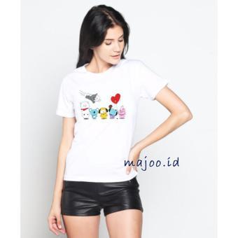ID T-Shirt Cewek / Tumblr Tee / Kaos Wanita BT21 - Putih