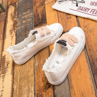 Orang Malas Sepatu Kanvas Musim Panas Baru Sepatu Korea Modis Gaya Perempuan (Bubuk Putih)