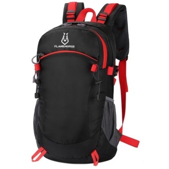 Men Backpack Travel Wanita Nilon Tahan Air Tinggi Kapasitas Mountaineer Tas (Hitam)-Intl