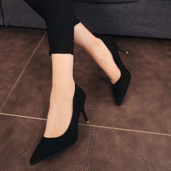 Merah Muda Hak Tipis Pointed untuk Sepatu Pernikahan Korea Modis Gaya Sepatu Wanita (Hitam)