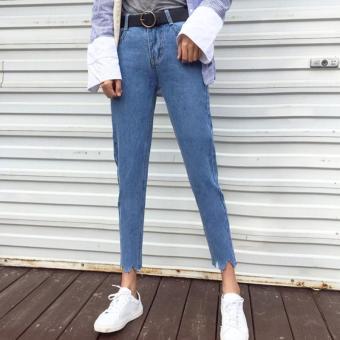 MM Harem Perempuan Lee Jeans Bulu Celana Longgar Celana Jeans (Biru)