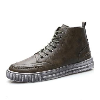 Musim Gugur atau Musim Dingin Ala Inggris Kulit Tahan Udara Sepatu Engkel  Tinggi Sepatu Pria Kasual 5789ada494