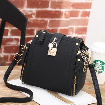 Musim gugur dan musim dingin Perempuan baru Messenger tas tas kecil (Hitam)