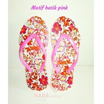NDV Sandal Jepit Wanita Motif Batik Pink/ Sendal kaki unik Special Edition