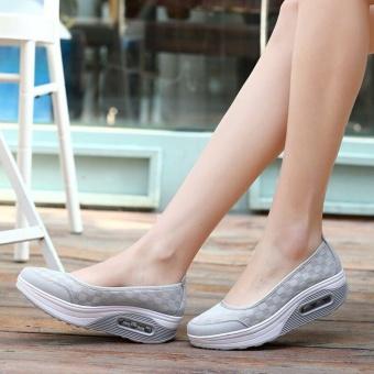 Ocean New Wanita Berjalan Sepatu Olahraga Luar Ruangan Breathable Net Permukaan Her Kasual (abu-