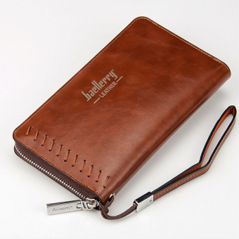Oil Wax Leather Mens Clutch Bag Wrist Handbag Purse Wallet Coffee