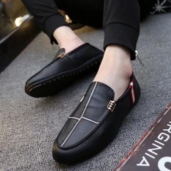 Orang Malas Sepatu Korea Fashion Style Musim Panas Sepatu Trendi Laki-laki ( Hitam)