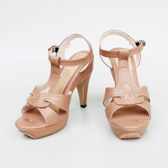 Own Works Pump Shoes Toe High Heels T-Strap - Mocca