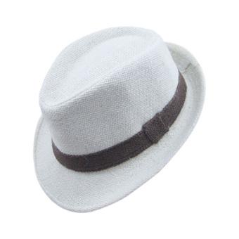 PAlight Solidcolor Linen Jazz Anak Topi-Topi Fedora (Krem)
