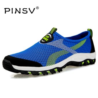 PINSV Air Mesh Summer Shoes Men Loafers Slip On Flats Shoes Men Casual Shoes Size 39-47-Blue - intl