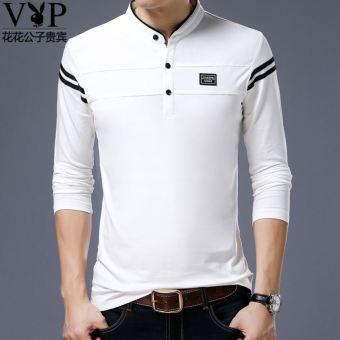 Playboy Kaos VIP Lengan Panjang Baju Dalaman Katun Pria (Putih)