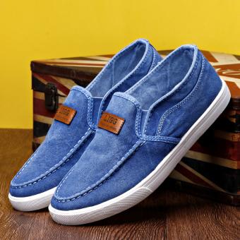 Orang Malas Sepatu Pria Musim Panas Sepatu Kanvas Pria (B01 Biru Muda)