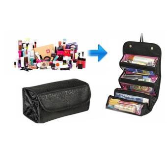 Roll n Go Cosmetic Bag - Cosmetic Organizer - Hitam / Merah