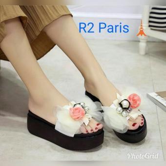 Sandal Wedges Wanita Putih - Rosebell R2