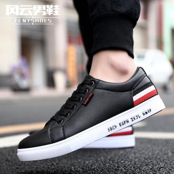 Sepatu Flat Olahraga Pria Santai Tembus Angin Versi Korea (XH01 hitam)