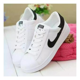 Sepatu Sneakers Kets Wanita Warna Putih Model Terbaru Kekinian Garis Pingk    Hitam 61ffd10112