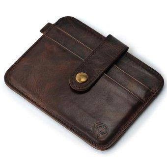 Slim Pemegang Kartu Kredit Mini Dompet ID Case Dompet Casing Kantong Coklat-Internasional