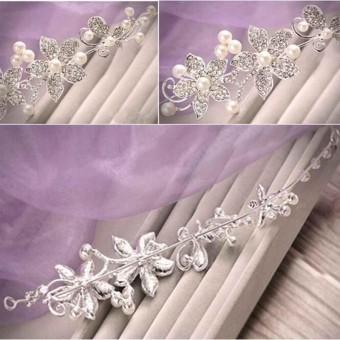 Perak Berlian Imitasi Mutiara Hiasan Kepala Pengantin Pernikahan Tiara Mahkota Pesta Bulang-Internasional