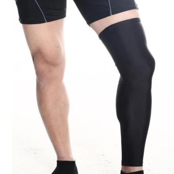 Sunshop Olahraga Legging Sepak Bola Basket Bersepeda Stretchable Long Lle Leg Guard (Hitam)-