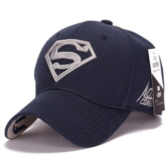 Superman Baseball Cap Hats for Men Women Adjustable S Letter Casual Outdoor Snapback Hat(Silver&dark blue) (Int: One size)