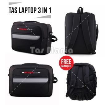 Tas Laptop Polo USA 1890 3in1 - San Diego Laptop Bag + FREE Raincover - Black