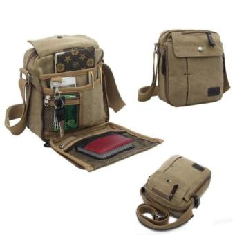 ... Torori Men Messenger Bag Canvas Vintage Shoulder Bag Tas Slempang Pria Coklat Muda