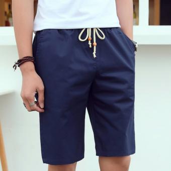 Versi Korea dari kapas musim panas laki laki celana celana celana pendek Biru .