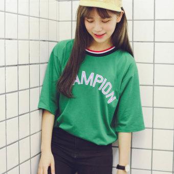Kaos Wanita Lengan Pendek Kerah Bulat Motif Cetak Bergaris Model Longgar Gaya Korea (712 hijau