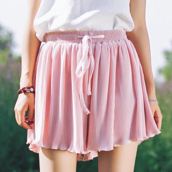 ... Versi Korea dari sifon perempuan kata kulot celana pendek Lembut merah muda