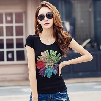 Versi Korea dari wanita kulit putih lengan pendek t-shirt yard besar t-shirt