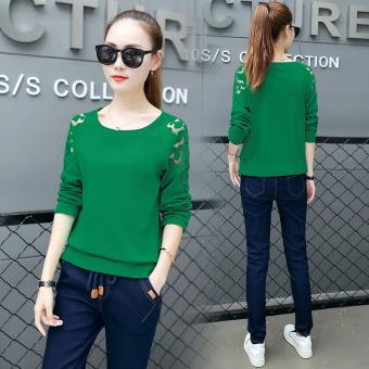 Baju Dalaman Perempuan Baru Kaos Korea Fashion Style Lengan Panjang (Hijau)