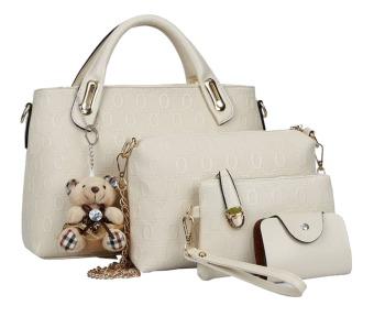 Vicria Tas Branded Wanita - Elegat Bag Korean Style High Quality 4in1 - Beige