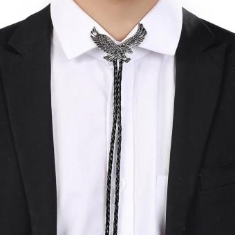 Vintage Alloy Western Cowboy Leather Eagle Bolatie BOLO Tie Necktie Bolotie Hitam dan Perak-Intl