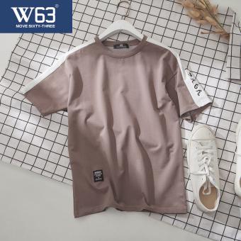 T-shirt W63 Korea Fashion Style Longgar Baju Kaos Pria Remaja (Khaki) baju
