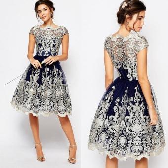 Wanita Vintage Lace bunga lengan pendek malam pesta Formal gaun Mini - International