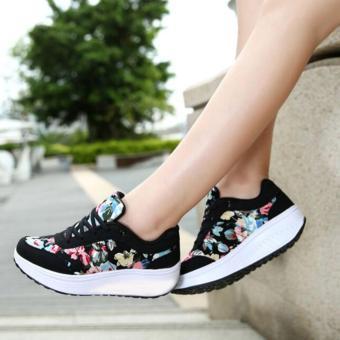 Wedges Kets Bunga Hitam SR05   Sepatu Kets Wanita Olahraga Cewek Cewek  Boots Boot Senam   e951a710e8